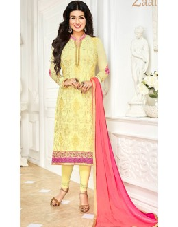 Ayesha Takia In Yellow & Pink Georgette Salwar Suit  - 1142