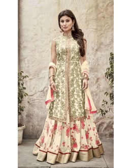 Eid Special Cream Georgette Anarkali Suit - 33004