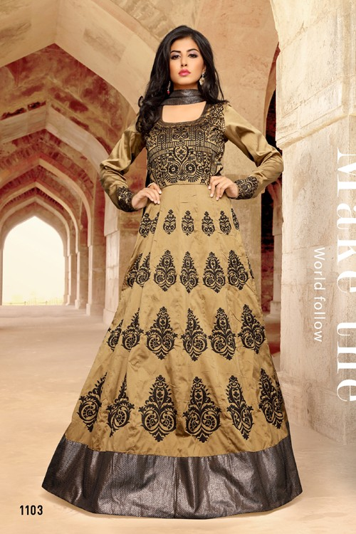 Party Wear Beige Taffeta Anarkali Suit - 1103