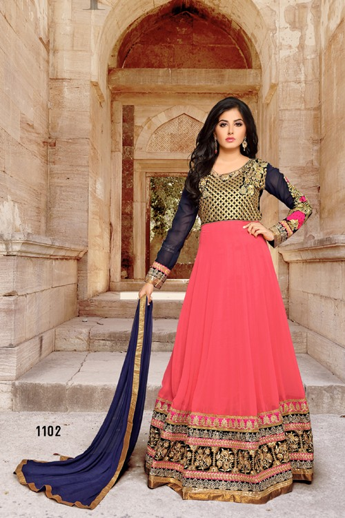 Party Wear Pink Georgette Anarkali Suit - 1102