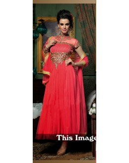 Party Wear Net Pink Gown - BT-7