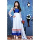Party Wear Net White Anarkali Suit - BT-4