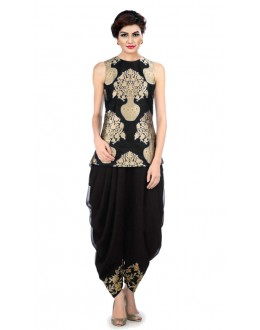 Bollywood Replica - Fancy Black Indo Western Dhoti Suit  - KZA-10