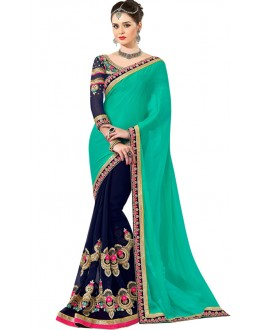 Bollywood Replica -  Designer Sea Green & Blue Saree - 1502
