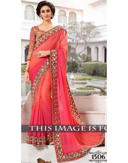 Bollywood Replica -  Designer Red Pink Saree - 1506