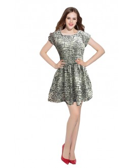 Party Wear Readymade Cream Western Wear Dress - D-07