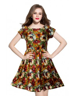 Casual Wear Readymade Royal Yellow Western Wear Dress - D-08-D