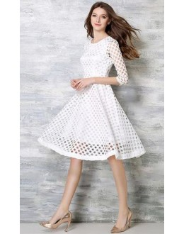 Western Wear Readymade White Skater Dress - D-37