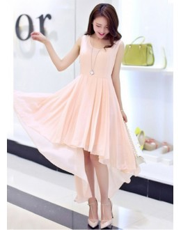 Party Wear Readymade Peach Western Wear Dress - D-43