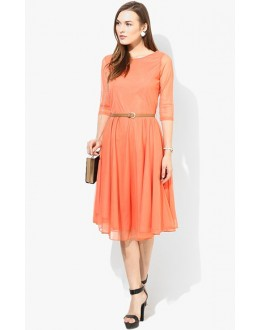 Party Wear Readymade Orange Western Wear Dress - D-50