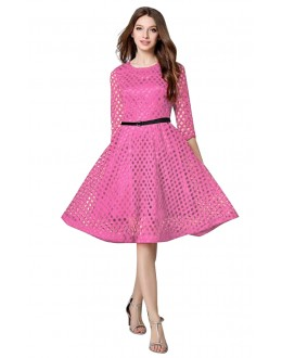 Casual Wear Readymade Pink Western Wear Dress - D-52