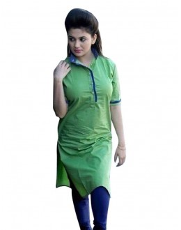 Office Wear Readymade Green Cotton Kurti - K-04