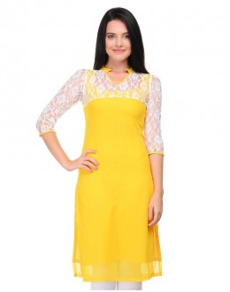 Ethnic Wear Readymade Yellow Cotton Kurti - K-08