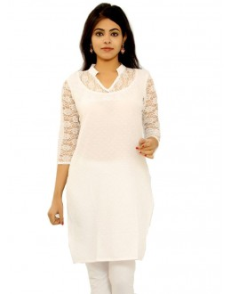 Festival Wear Readymade White Cotton Kurti - K-09