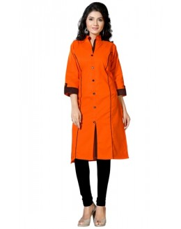 Casual Wear Readymade Orange Cotton Kurti - K-12