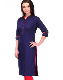 Office Wear Readymade Blue Cotton Kurti - K-14