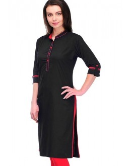 Casual Wear Readymade Black Cotton Kurti - K-15