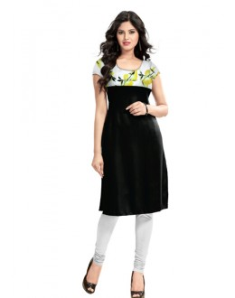 Casual Wear Readymade Lime Black Cotton Kurti - K-17