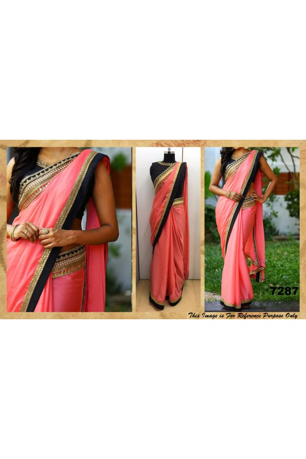 Bollywood Replica - Wedding Wear Peach & Black Saree - 7287