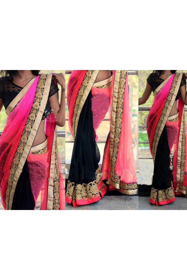 Bollywood Replica - Designer Pink & Black Saree - KT-3021