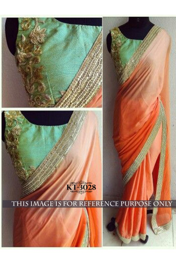 Bollywood Replica - Designer Orange Saree - KT-3028