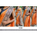 Bollywood Style - Wedding  Wear Orange Saree - KT-3158