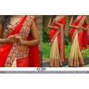 Bollywood Style - Wedding  Wear Red & Cream Half & Half Saree - KT-3160