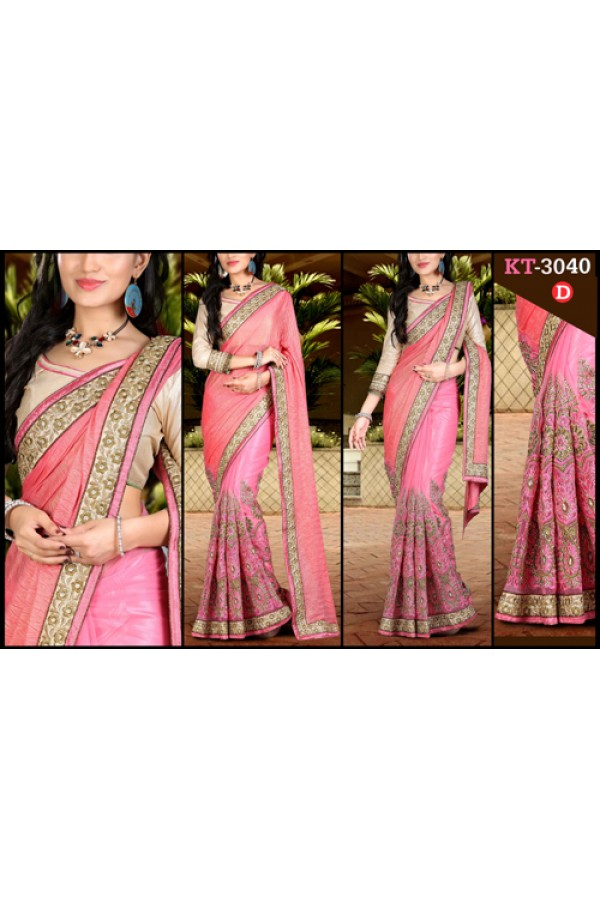 Bollywood Replica - Designer Pink Saree - KT-3040-D