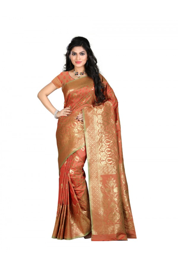 Bollywood Replica - Designer Orange Kanjivarm Saree - KT-3045-A