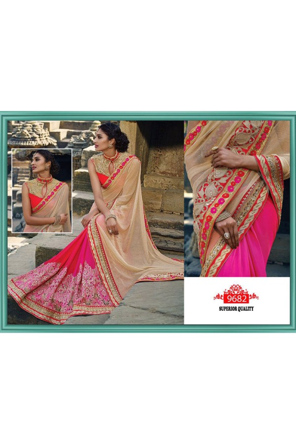 Bollywood Replica - Wedding Wear Beige & Pink Saree - 9682
