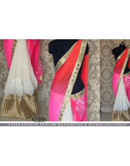 Bollywood Replica - Wedding Wear Pink & White Saree - KT-3075