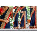 Bollywood Replica - Wedding Wear Dark Blue & Red Saree - KT-3133