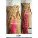 Bollywood Replica - Wedding Wear Cream & Pink Saree - KT-3149