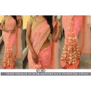 Bollywood Replica - Wedding Wear Peach Nylon Net Saree - KT-3153