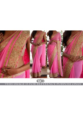 Bollywood Replica - Party Wear Pink Border Work Saree - KT-3114