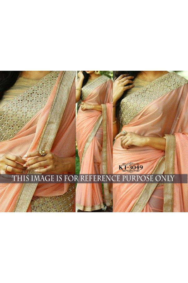 Bollywood Replica - Designer Peach Silk Georgette Saree - KT-3049