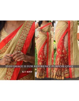 Bollywood Replica - Designer Beige & Red Saree - KT-3059