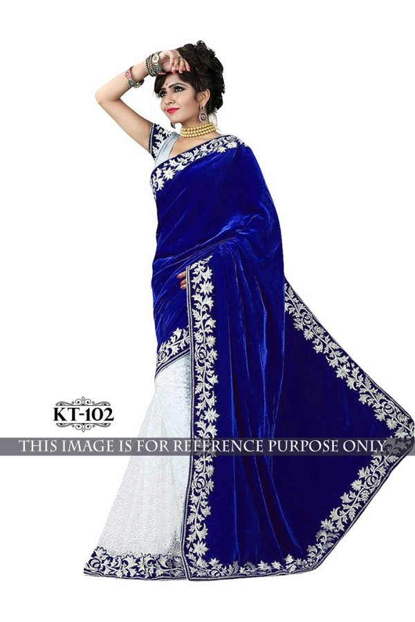 Bollywood Replica - Designer Blue & White Half & Half Saree- KT-102
