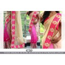 Bollywood Replica- Wedding Wear Cream & Pink Saree - KT-3127