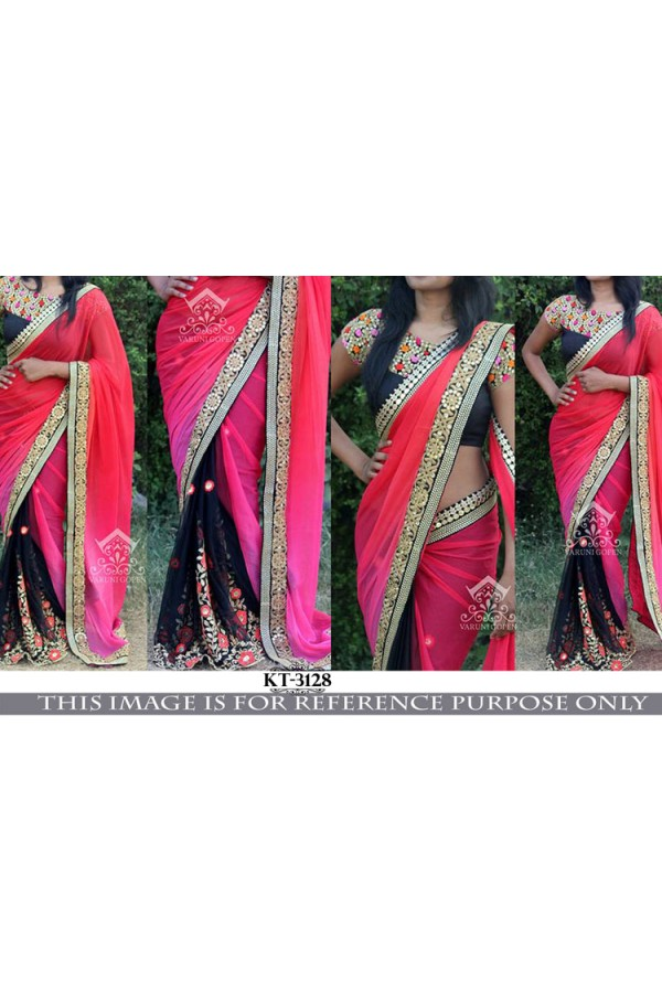 Bollywood Replica- Ethnic Black & Pink Saree - KT-3128