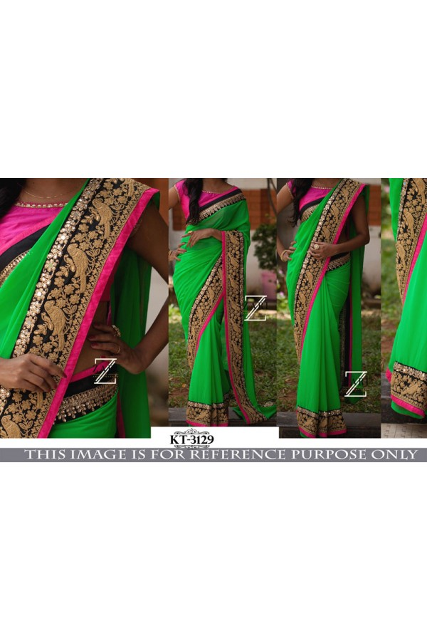 Bollywood Replica- Wedding Wear Parrot Green Saree - KT-3129