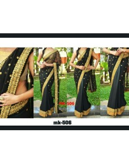 Bollywood Replica - Designer Black & Golden Saree - Mk-506