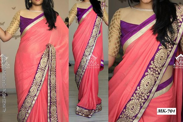 Bollywood Replica - Designer Peach Saree - Mk-701