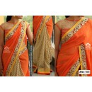 Bollywood Replica - Designer Orange & Cream Saree - Mk-703