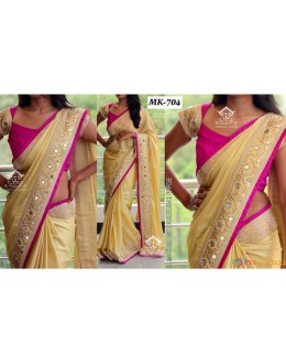 Bollywood Replica - Designer Beige & Pink Saree - Mk-704