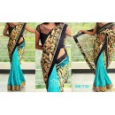 Bollywood Replica - Designer Black & Sky Blue Saree - Mk-730
