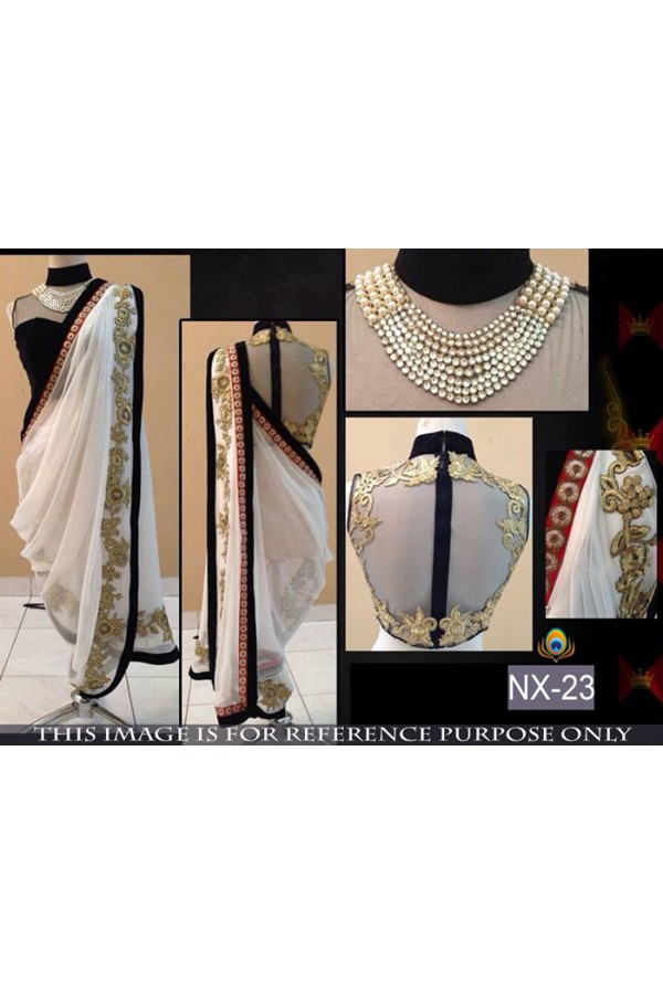 Bollywood Replica - Wedding Wear White Saree  - NX-23
