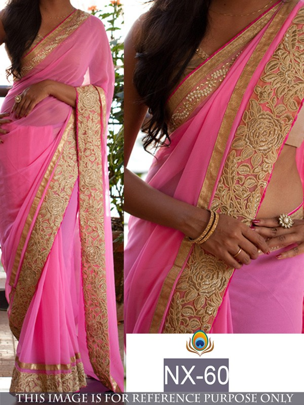 Bollywood Replica - Party Wear Pink Georgette Saree  - NX-60
