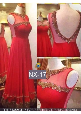 Bollywood Replica - Designer Red Net Party Wear Gown  - NX-17