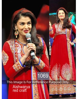 Bollywood Replica - Aishwarya Rai Designer Red Georgette Anarkali Suit - 1069